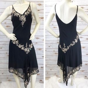 Cache Silk Embroidered Cocktail Dress Sz 12 ::Y16